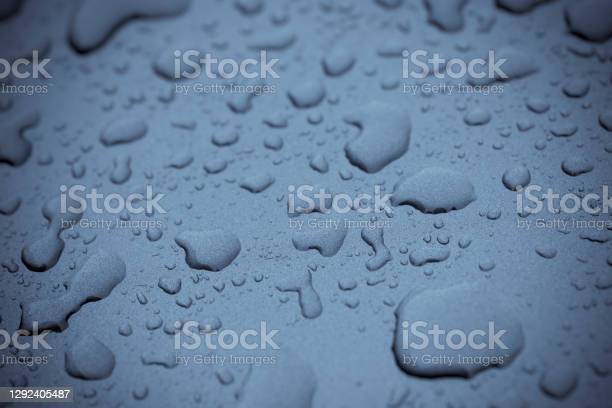 Rain Drops On A Car Roof Stock Photo - Download Image Now