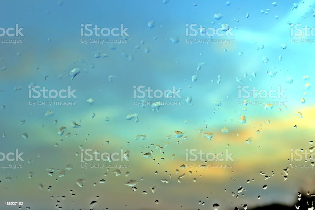 Rain drops on a window pane stock photo