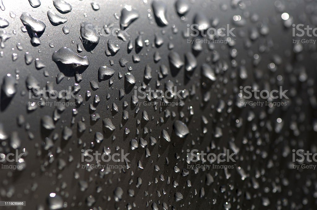 Rain Drops on metal surface royalty-free stock photo
