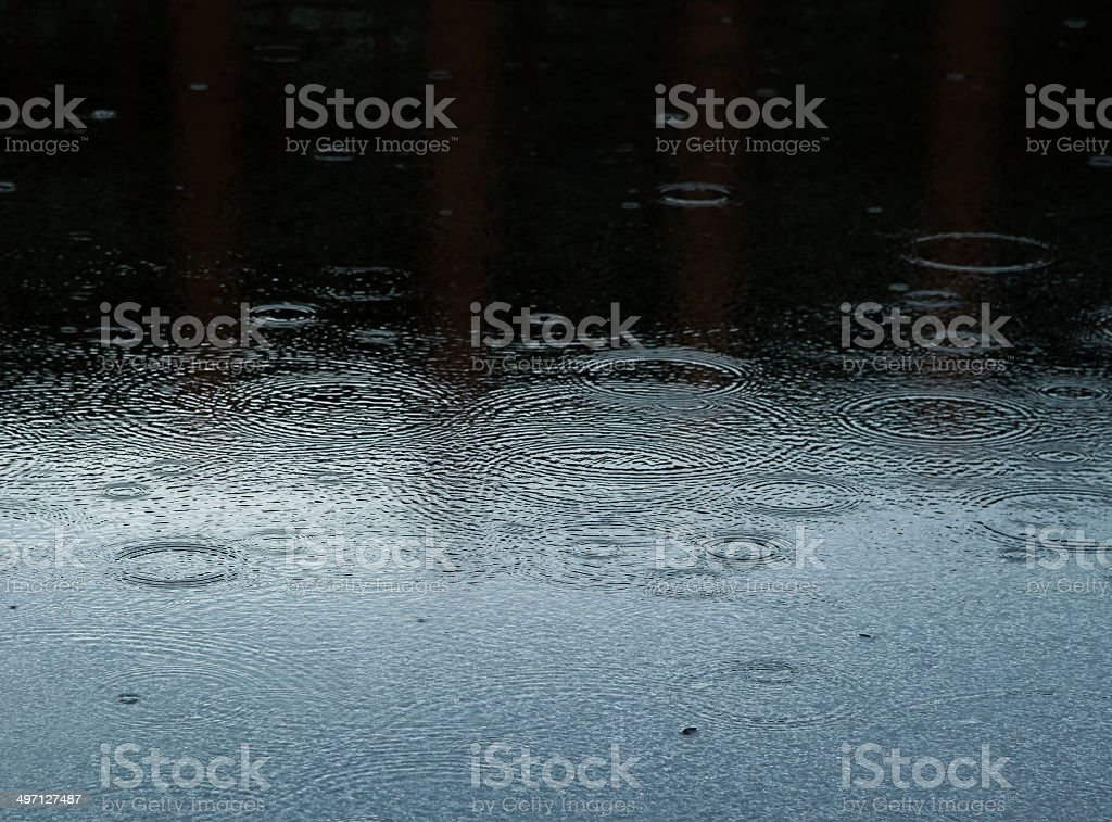 Rain drops on wet sidewalk stock photo