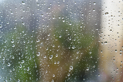 Rain Drops On Window Glasses Surface Stock Photo - Download Image Now