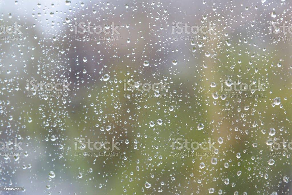 Regnet droppar på fönster glas yta - Royaltyfri Blöt Bildbanksbilder