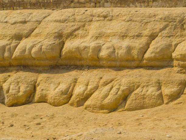Rain Erosion? Apparent signs of rain erosion on the Great Sphinx of Giza. In Cairo, Egypt apparently stock pictures, royalty-free photos & images