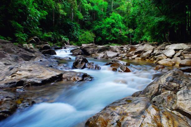 regenwald fließenden wasserbecken - künstlerische digitale nachahmung ölgemälde-stil. - waldmalerei stock-fotos und bilder