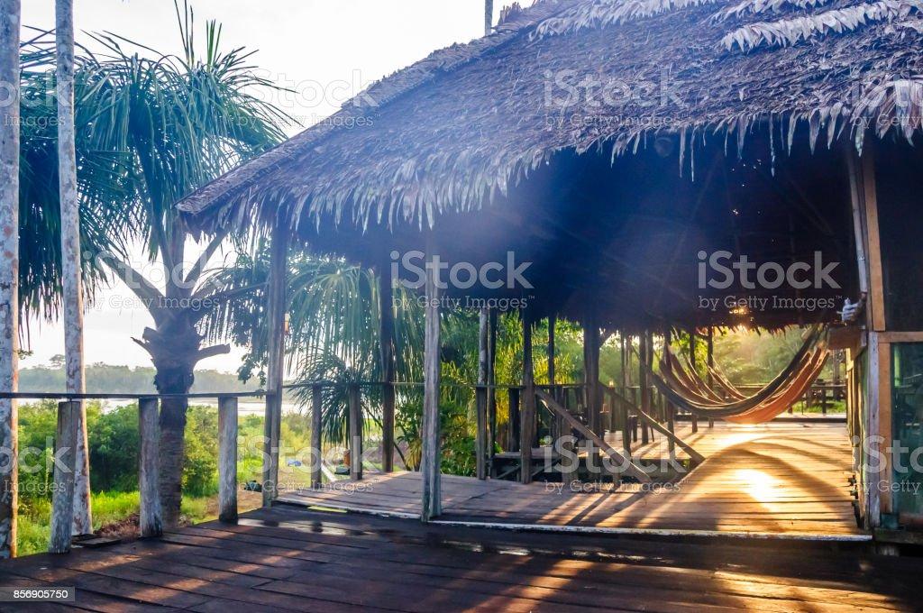 rain forest lodge by Amazon region in Brazil stock photo