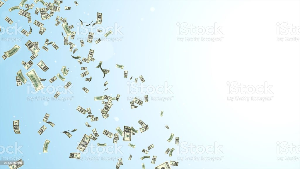 Rain from many falling dollars isolated on white background, finance concept stock photo