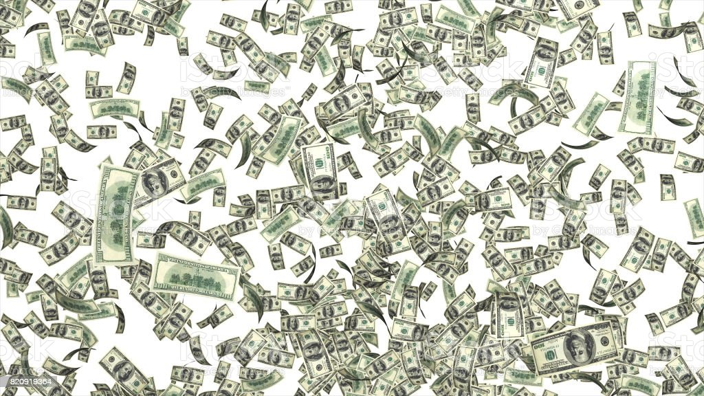 rain from many falling dollars isolated on white background finance