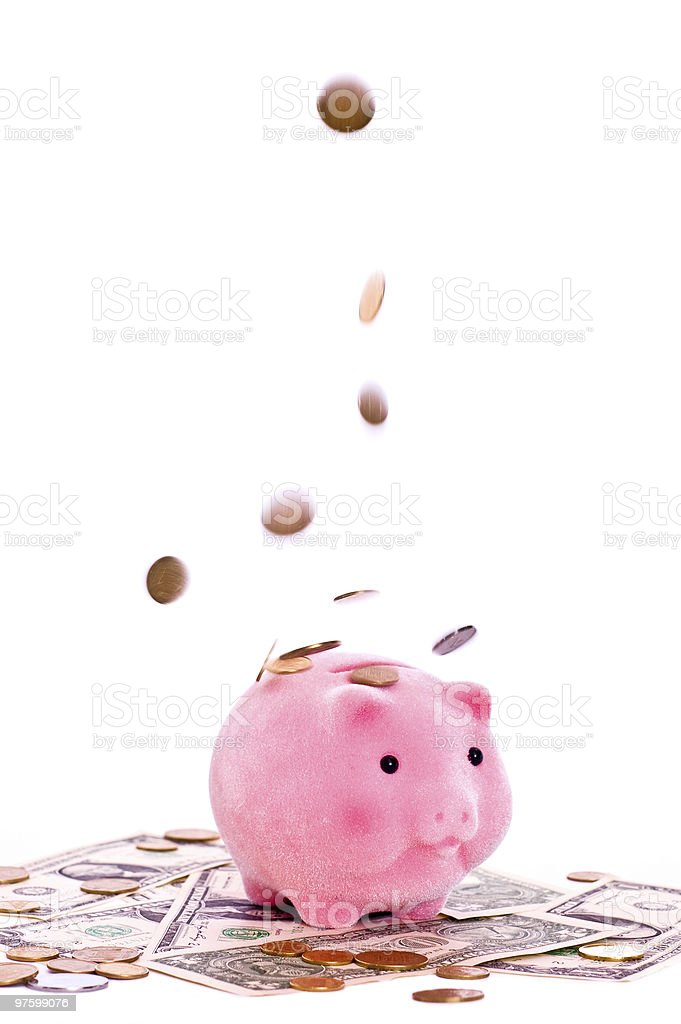 Rain from money royalty-free stock photo