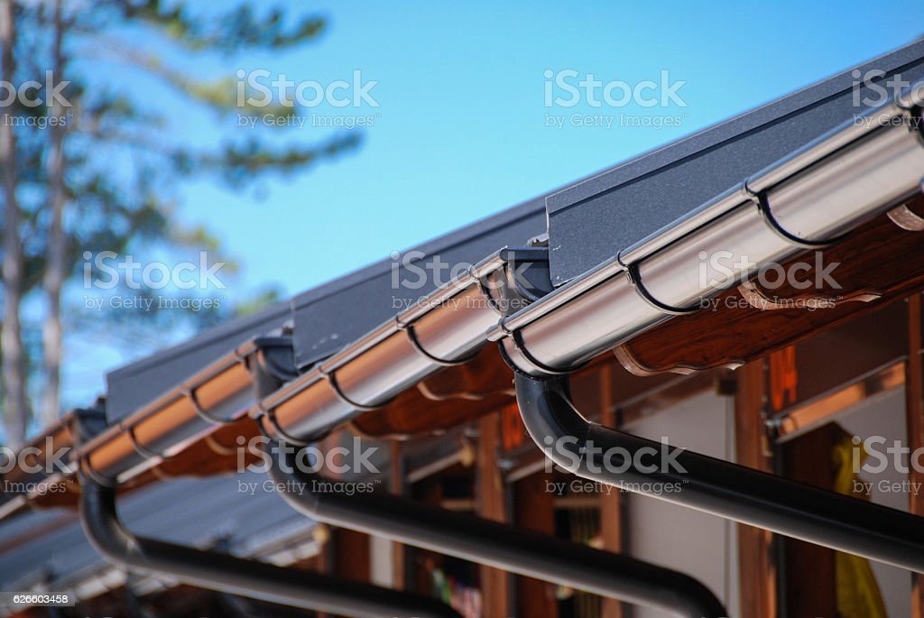 Rain gutters stock photo