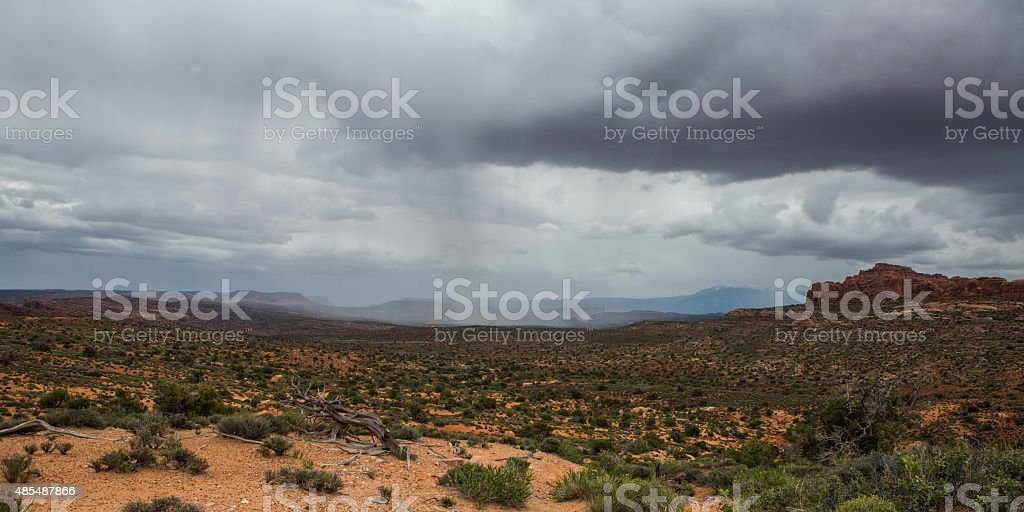 Rain in Arches National Park stock photo