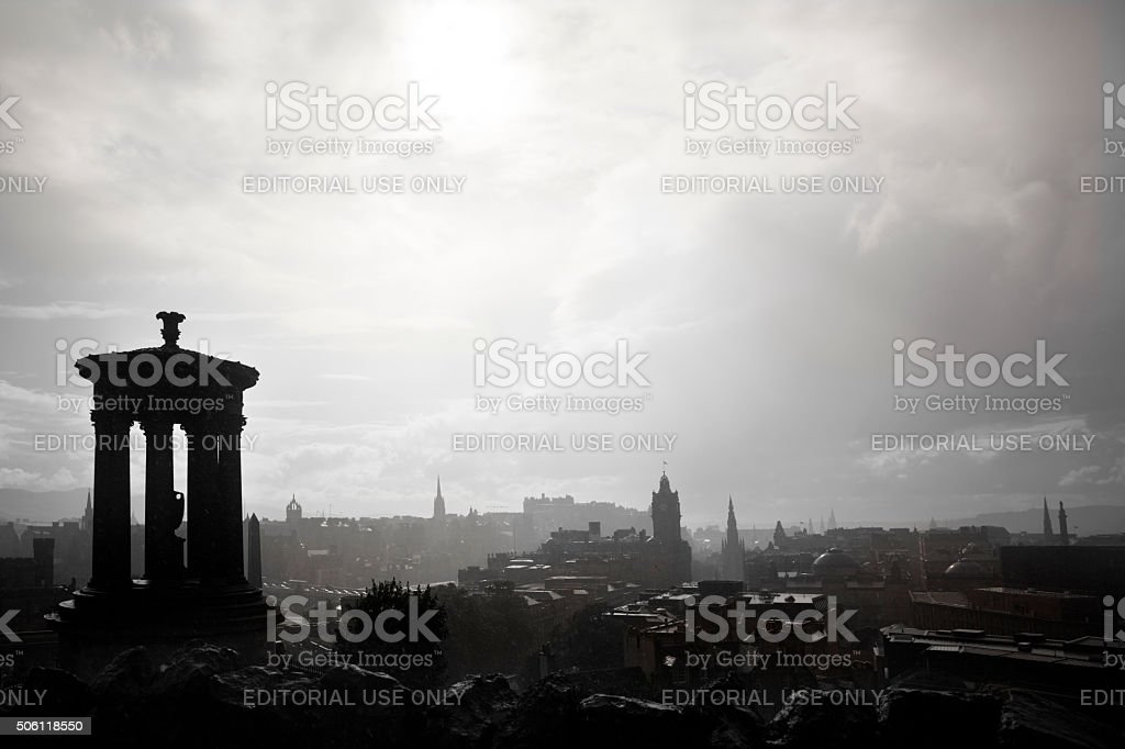 Rain in Calton Hill stock photo
