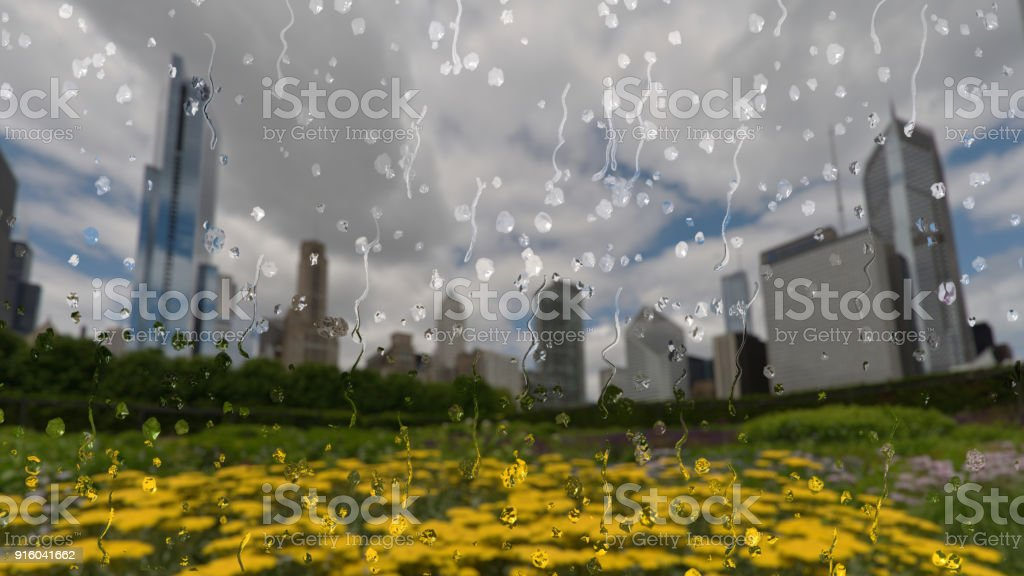 Rain in Chicago through a glass window stock photo