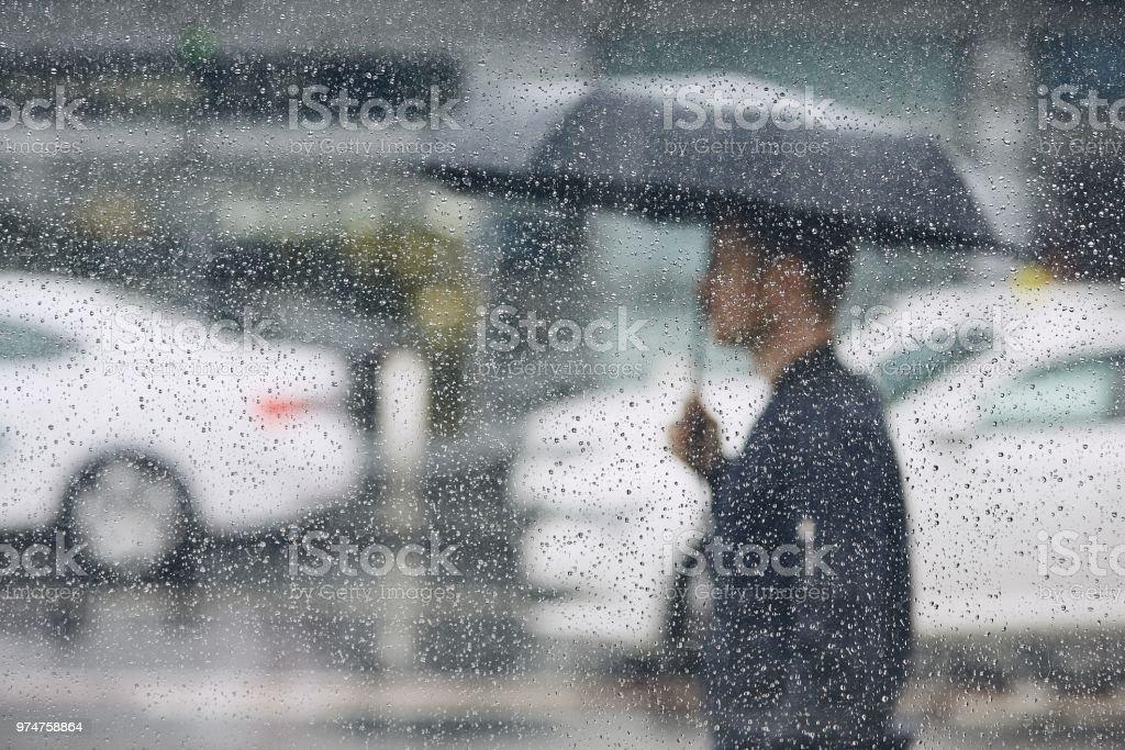 Rain in city royalty-free stock photo