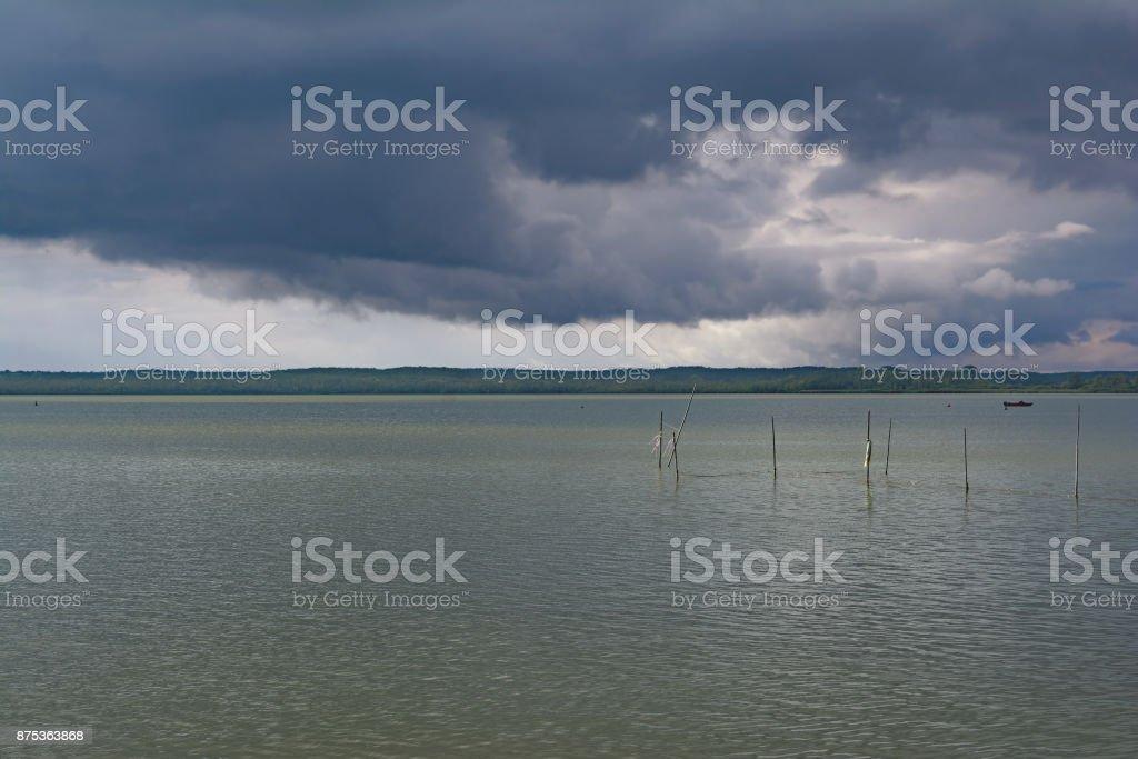rain in Mecklenburg lake District,Germany stock photo