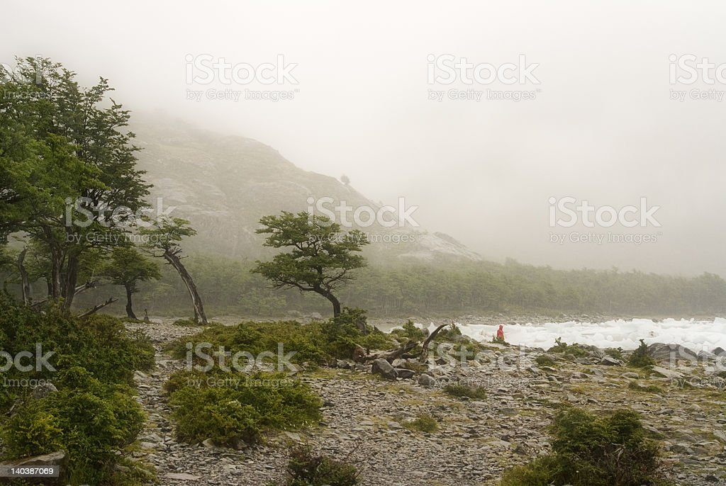 Rain in Onelly Bay, Patagonia stock photo