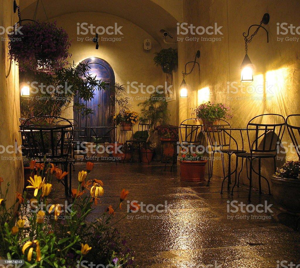 Rain in the courtyard royalty-free stock photo