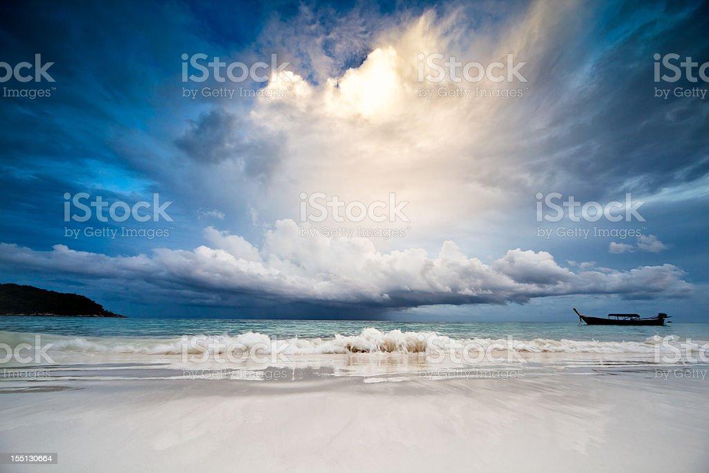 Rain in the sea stock photo