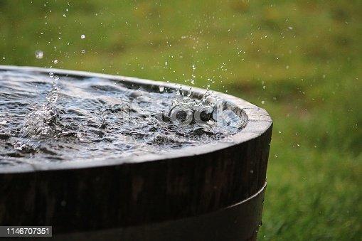 falling rain in a barrel
