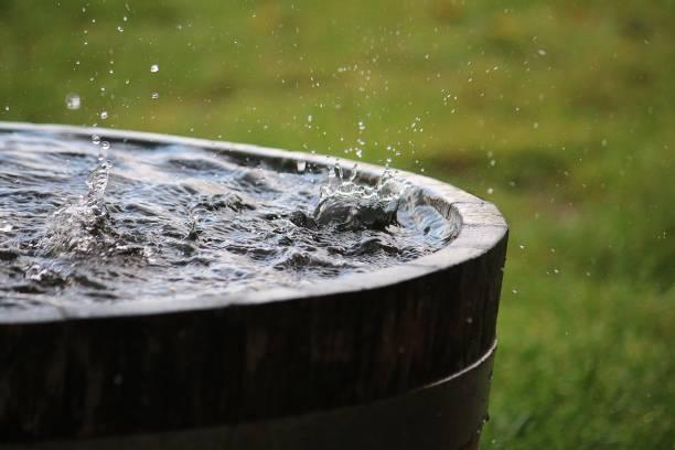 deszcz spada w drewnianej beczce pełnej wody w ogrodzie - zbierać plony zdjęcia i obrazy z banku zdjęć