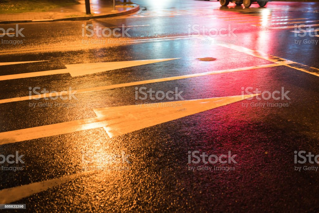 rain night in the street with asphalt road