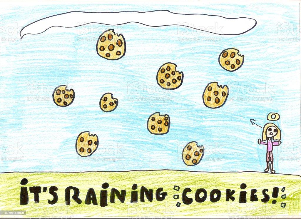 Rain of big yellow cookies, child's drawing stock photo