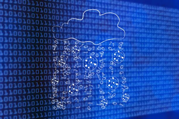 rain of browser cookies and binary code stock photo