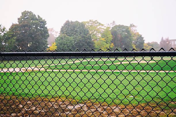 rain on an empty sports field – Foto