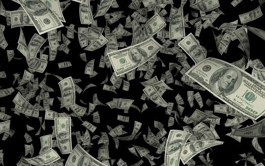 美元在黑色背景下降雨 照片檔及更多 100 號 照片