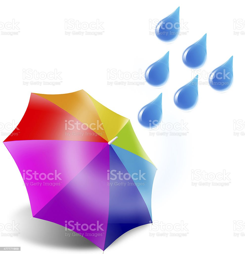 rain on colorful umbrella royalty-free stock photo