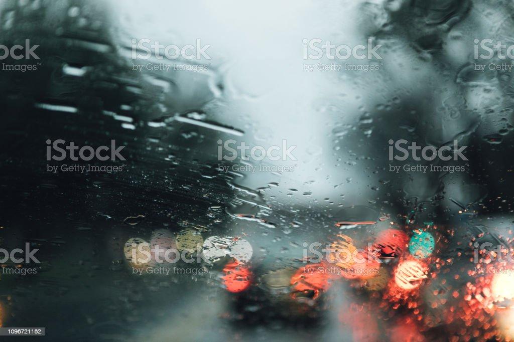 rain on the windshield stock photo