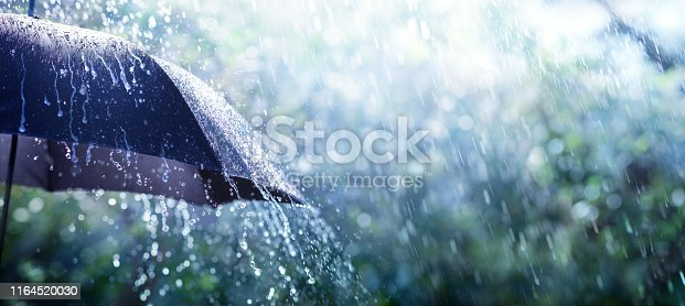 Rain On Umbrella - Weather Concept