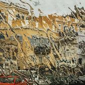View through a rain covered car windscreen.\nStock Image.