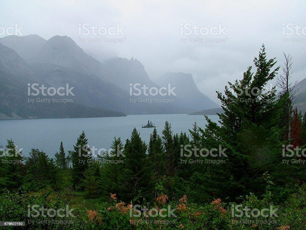Rain Over St Mary Lake stock photo