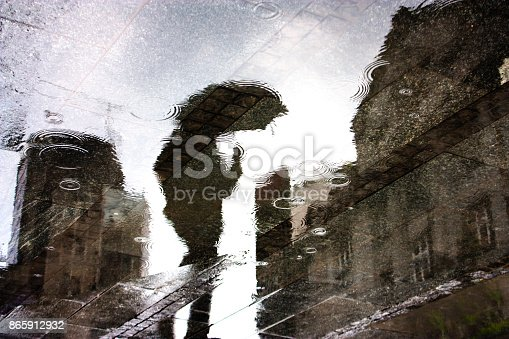 Rain reflection silhouette shadow of a person under umbrella in a city street puddle on a rainy day