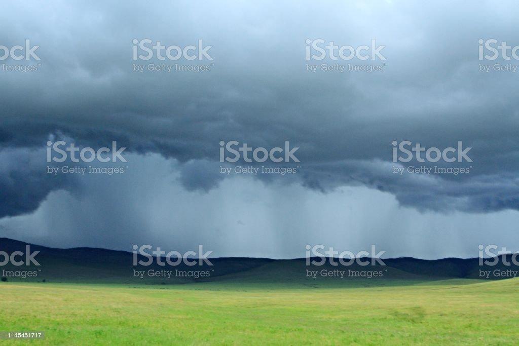 Rain storm approaching Ngorngoro crater