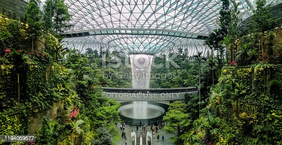 Singapore: 1 July 2019 - Jewel, a nature-themed entertainment and retail complex in Changi Airport, Singapore