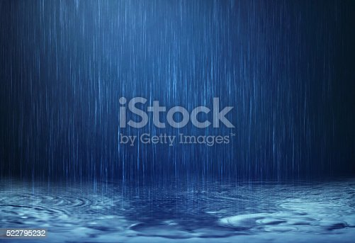 The rain water drop falling to the floor in rainy season