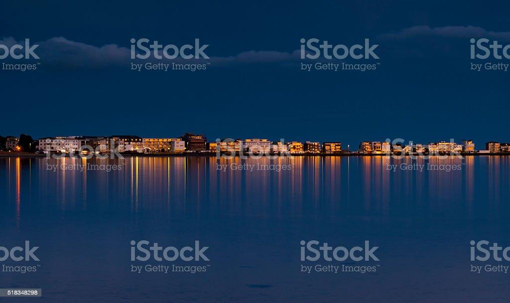 Rain-bearing clouds darken the horizon over Poole Harbour stock photo