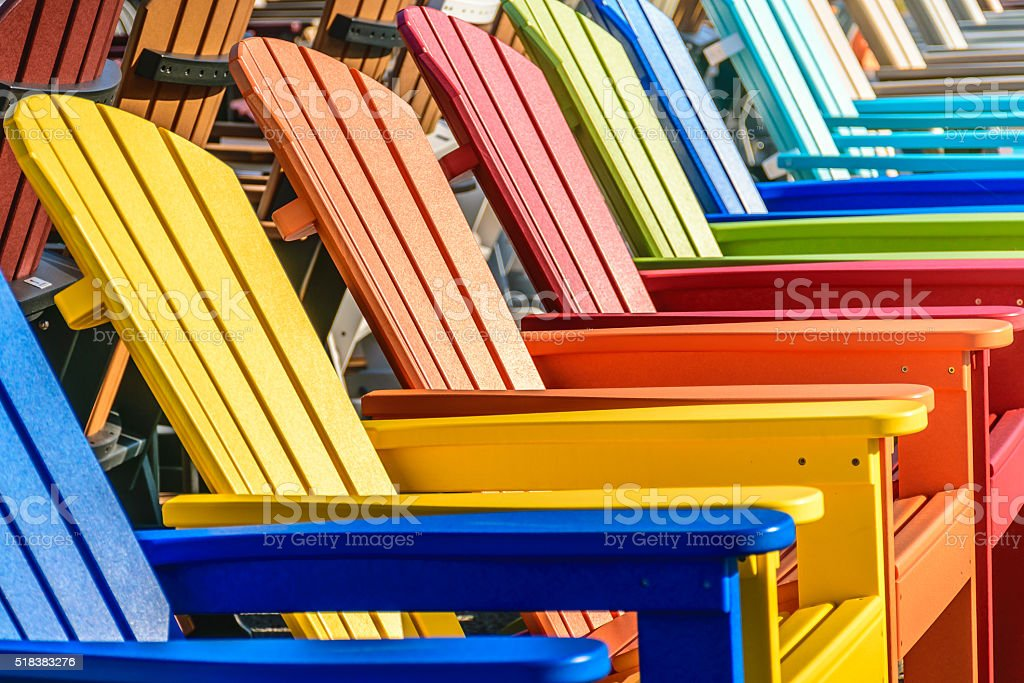 Rainbow Adirondack Chairs stock photo