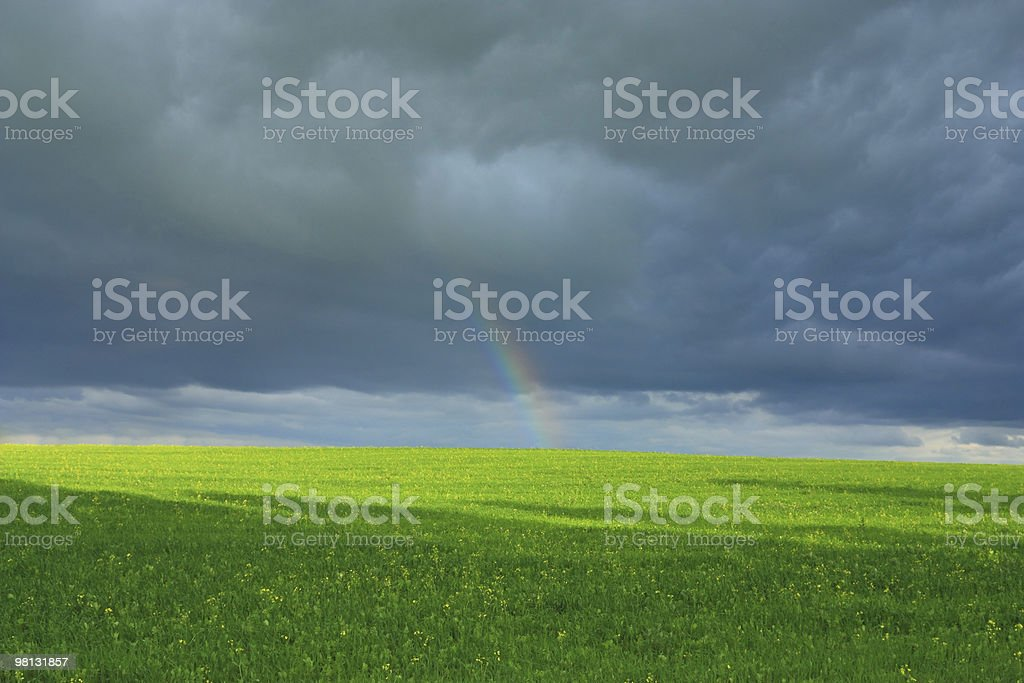 rainbow after thunderstorm royalty-free stock photo