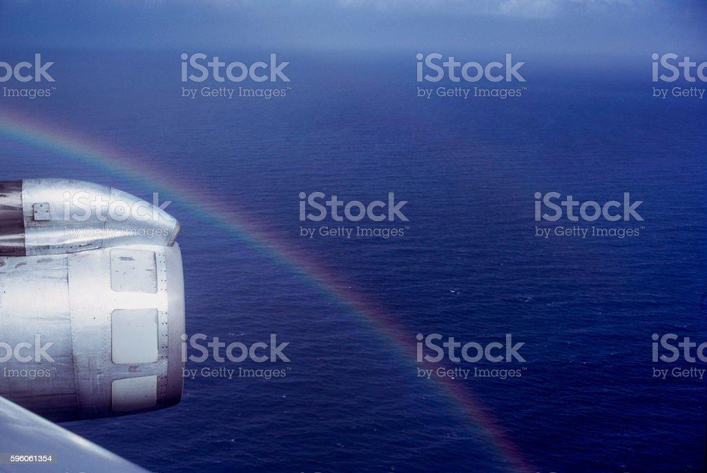 Rainbow and Engine during a flight from Rochester NY to NY NY royalty-free stock photo