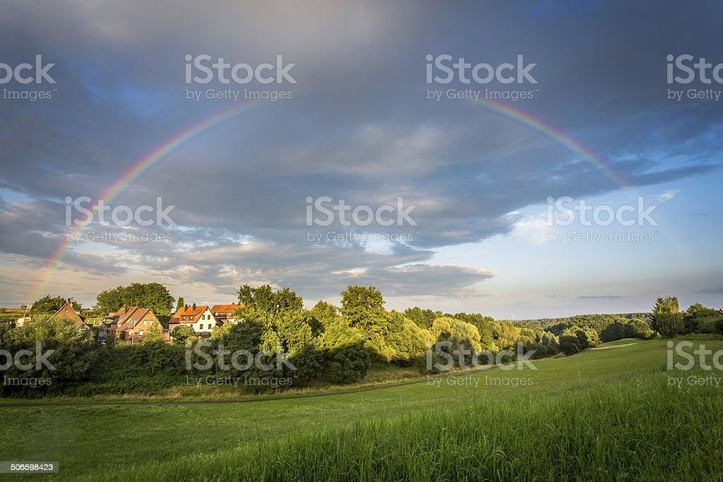 Rainbow arch stock photo