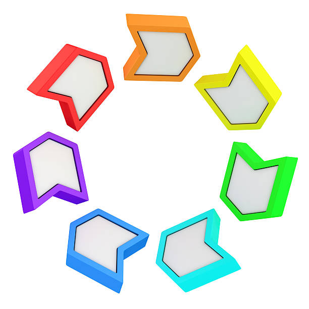rainbow arrows - cyclic stock pictures, royalty-free photos & images
