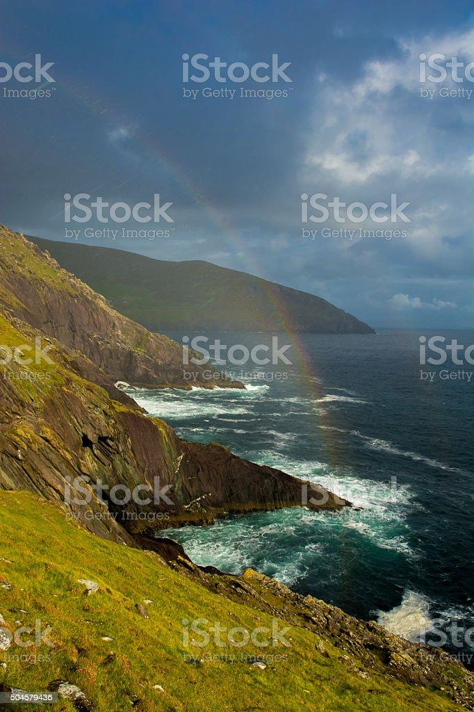 Rainbow At The Coast Of Slea Head In Ireland stock photo