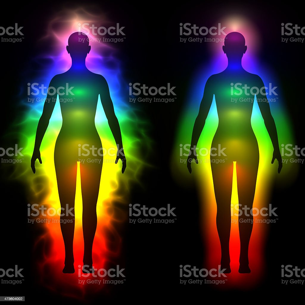 rainbow aura of woman silhouette stock photo more pictures of 2015