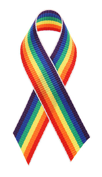 Rainbow Awareness Ribbon stock photo
