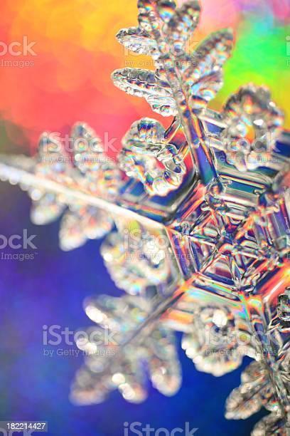 Rainbow Background Snowflake Stock Photo - Download Image Now