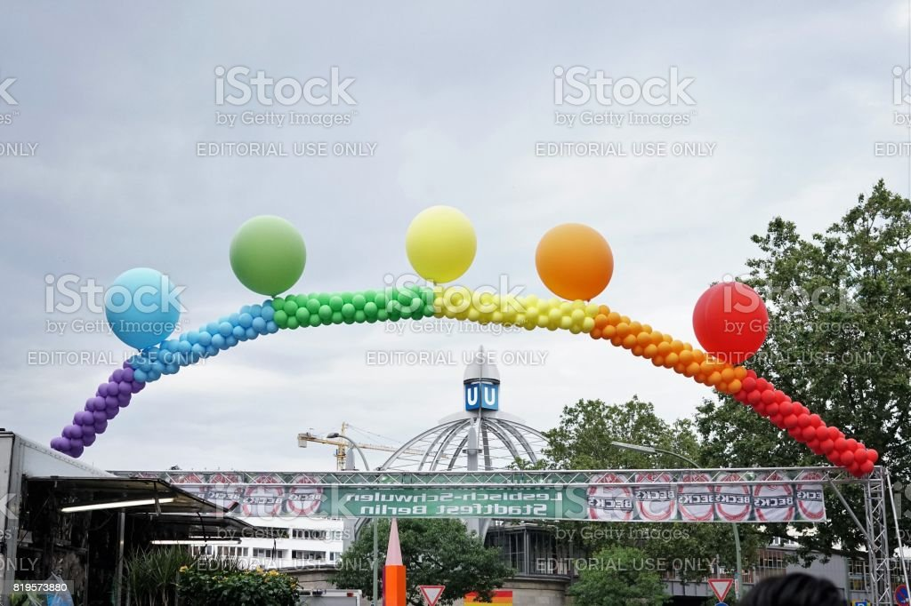 Rainbow balloon arch opening the 25th Lesbian and Gay Festival, Berlin stock photo
