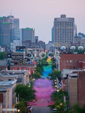 Rainbow balls installation on Saint-Catherine Street in gay Village, Montreal, Canada.