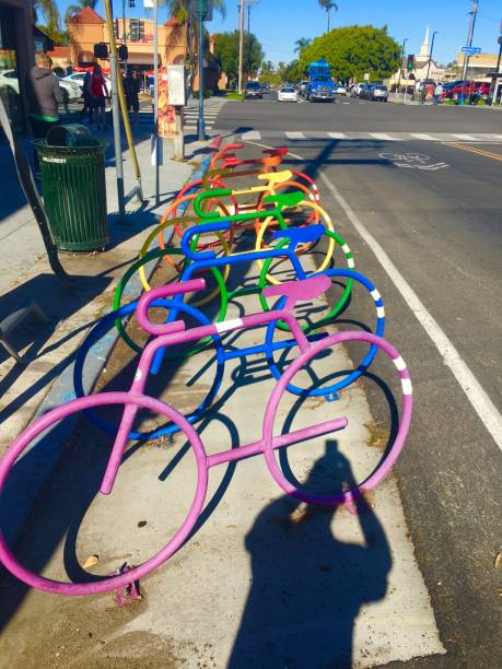 rainbow bike rack hillcrest - san diego, ca samuel howell stock pictures, royalty-free photos & images